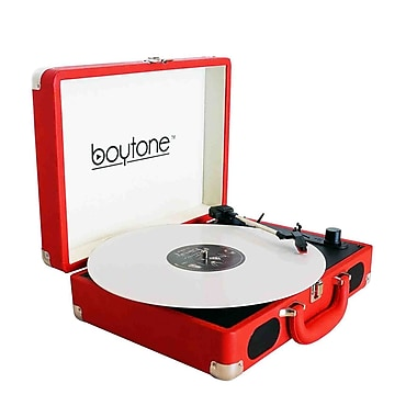 Boytone Exclusive Mobile Briefcase Bluetooth Turntable Red (BT-101RD)