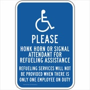 "ComplianceSigns Vinyl ""Refueling Assistance"" Sign, Reflective, 18"" x 12"", Blue (PKE18166LAB18X1)"