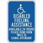 "ComplianceSigns Vinyl ""Disabled Fueling Assistance"" Label, Reflective, 18"" x 12"", Blue (PKE18168LAB18X1)"
