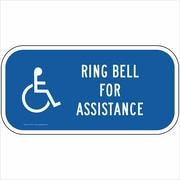 "ComplianceSigns Aluminum ""Ring Bell For Assistance"" Sign, Reflective, 12"" x 6"", Blue (PKE18711AL8012X)"