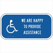 "ComplianceSigns Vinyl ""Provide Assistance"" Label, Reflective, 12"" x 6"", Blue (PKE18714LAB12X6)"