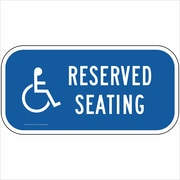 "ComplianceSigns Vinyl ""Reserved Seating"" Parking Label, Reflective, 12"" x 6"", Blue (PKE18716LAB12X6)"
