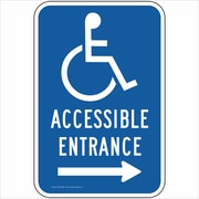 "ComplianceSigns Vinyl ""Accessible Entrance"" Parking Label, Reflective, 18"" x 12"", Blue (PKE20695LAB18X1)"