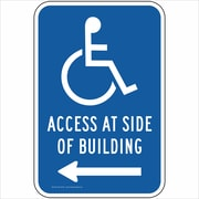"ComplianceSigns Vinyl ""Access At Side Of Building"" Label, Reflective, 18"" x 12"", Blue (PKE20700LAB18X1)"