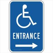 """ComplianceSigns Aluminum """"Entrance"""" Sign, Reflective, 18"""" x 12"""", Blue (PKE20733AL8018X)"""