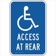 "ComplianceSigns Vinyl ""Access At Rear"" Parking Label, Reflective, 18"" x 12"", Blue (PKE20680LAB18X1)"