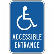 "ComplianceSigns Vinyl ""Accessible Entrance"" Parking Label, Reflective, 18"" x 12"", Blue (PKE20685LAB18X1)"