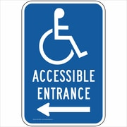 "ComplianceSigns Vinyl ""Accessible Entrance"" Parking Label, Reflective, 18"" x 12"", Blue (PKE20690LAB18X1)"