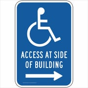 "ComplianceSigns Vinyl ""Access At Side of Building"" Parking Label, Reflective, 18"" x 12"", Blue (PKE20705LAB18X1)"