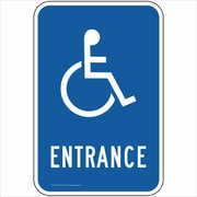 "ComplianceSigns Vinyl ""Entrance"" Parking Label, Reflective, 18"" x 12"", Blue (PKE20730LAB18X1)"