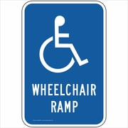 "ComplianceSigns Vinyl ""Wheelchair Ramp"" Parking Label, Reflective, 18"" x 12"", Blue (PKE20870LAB18X1)"