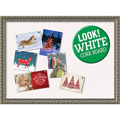 Amanti Art Framed White Christmas Card Cork Board Parisian Silver 31