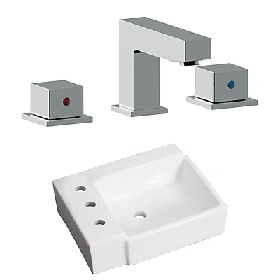 "American Imaginations 16.25""W Above Counter White Vessel Sink Set for 3H8"" Left Faucet (AI-22585)"