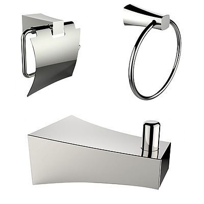 American Imaginations Chrome Plated Towel Ring with Robe Hook and Toilet Paper Holder Accessory Set Chrome 1 (AI-13503)