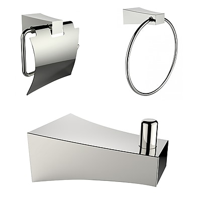 American Imaginations Chrome Plated Towel Ring with Robe Hook and Toilet Paper Holder Accessory Set Chrome 1 (AI-13504)
