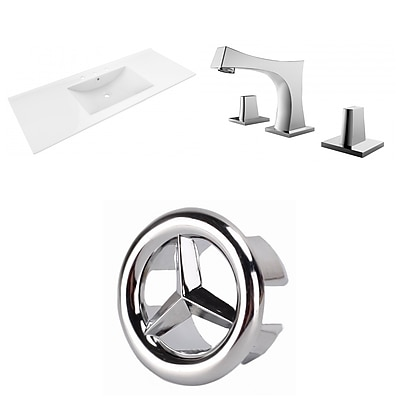"""American Imaginations 48""""W 3H8"""" Ceramic Top Sink Set in White (AI-24133)"""