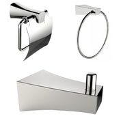 American Imaginations Chrome Plated Robe Hook with Towel Ring and Toilet Paper Holder Accessory Set Chrome 1 (AI-13494)