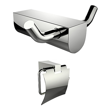 American Imaginations Chrome Plated Toilet Paper Holder and Double Robe Hook (AI-13299)