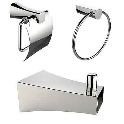 American Imaginations Chrome Plated Robe Hook with Towel Ring and Toilet Paper Holder Accessory Set Chrome 1 (AI-13495)