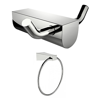 American Imaginations Chrome Plated Towel Ring and Double Robe Hook (AI-13302)