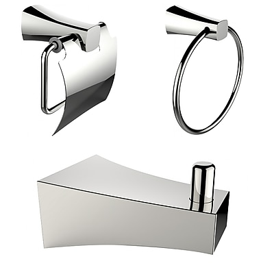 American Imaginations Chrome Plated Robe Hook with Towel Ring and Toilet Paper Holder Accessory Set Chrome 1 (AI-13493)