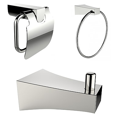 American Imaginations Chrome Plated Towel Ring with Robe Hook and Toilet Paper Holder Accessory Set Chrome 1 (AI-13513)