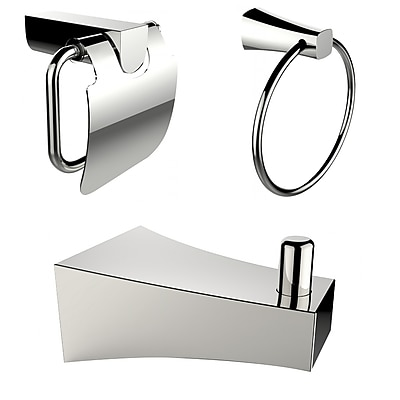 American Imaginations Chrome Plated Towel Ring with Robe Hook and Toilet Paper Holder Accessory Set Chrome 1 (AI-13512)
