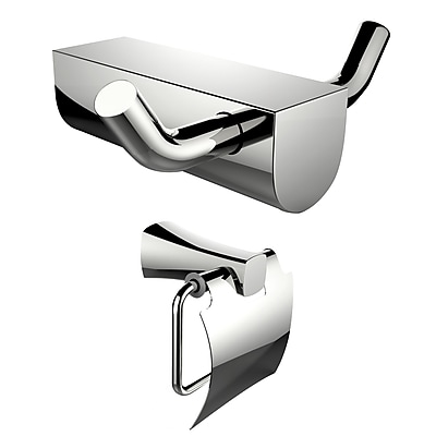 American Imaginations Chrome Plated Toilet Paper Holder and Double Robe Hook (AI-13298)
