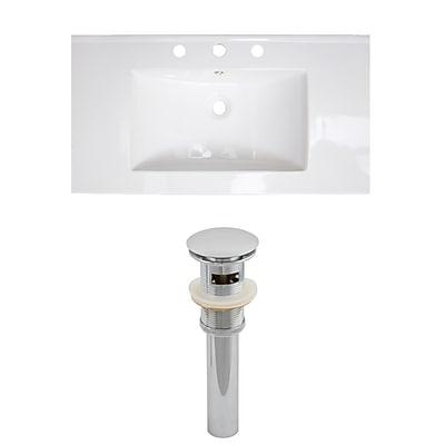 """American Imaginations 36.75""""W 3H8"""" Ceramic Top Sink Set in White (AI-15586)"""