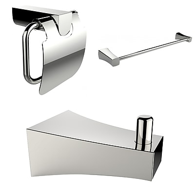American Imaginations Chrome Plated Towel Rod with Robe Hook and Toilet Paper Holder (AI-13515)