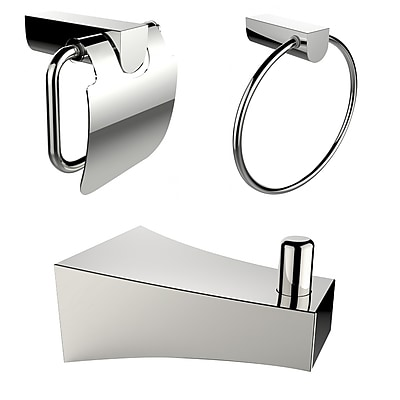 American Imaginations Chrome Plated Towel Ring with Robe Hook and Toilet Paper Holder Accessory Set Chrome 1 (AI-13514)