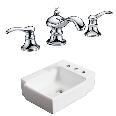 "American Imaginations 16.25""W Above Counter White Vessel Sink Set for 3H8"" Right Faucet (AI-22564)"