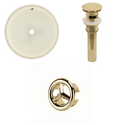 American Imaginations 16-in. W Round Undermount Sink Set In Biscuit - Gold Hardware - Overflow Drain Incl. Biscuit 1 AI-20611