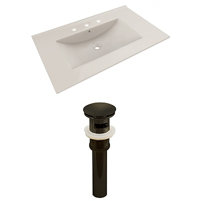American Imaginations 35.5-in. W 3H8-in. Ceramic Top Set In Biscuit Color - Overflow Drain Incl. Biscuit 1 AI-23484