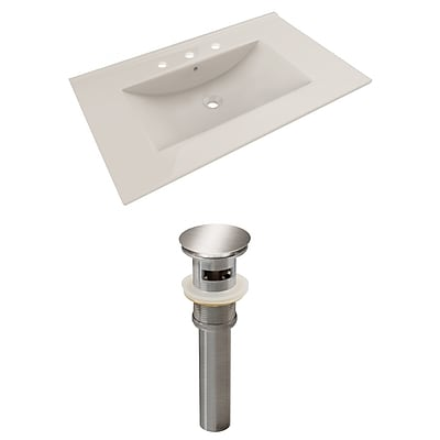 American Imaginations 35.5-in. W 3H8-in. Ceramic Top Set In Biscuit Color - Overflow Drain Incl. Biscuit 1 AI-23480