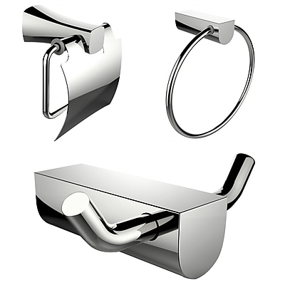 American Imaginations Chrome Plated Towel Ring and Robe Hook with Modern Toilet Paper Holder (AI-13639)