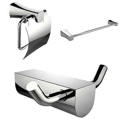 American Imaginations Single Rod Towel Rack and Robe Hook with Modern Toilet Paper Holder (AI-13640)