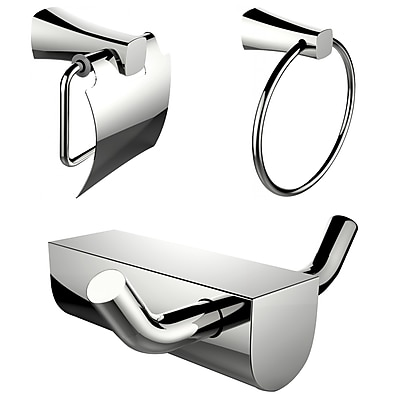American Imaginations Chrome Plated Towel Ring and Robe Hook with Sleek Toilet Paper Holder (AI-13637)