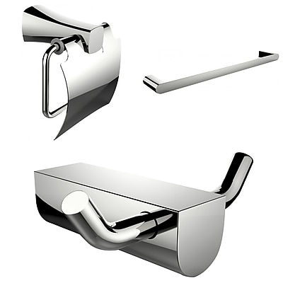American Imaginations Single Rod Towel Rack and Robe Hook with Modern Toilet Paper Holder (AI-13644)