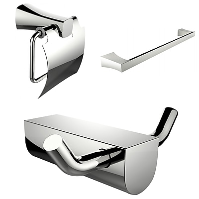 American Imaginations Single Rod Towel Rack and Robe Hook with Modern Toilet Paper Holder (AI-13642)
