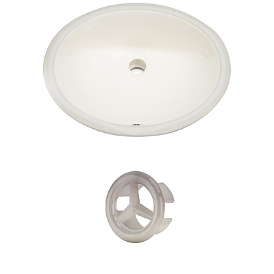 """""""""""American Imaginations 19.75""""""""""""""""W Oval Undermount Sink Set in Biscuit, Brushed Nickel Hardware Biscuit 1 (AI-20400)"""""""""""" 24263703"""