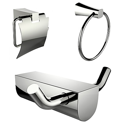 American Imaginations Chrome Plated Towel Ring and Robe Hook with Modern Toilet Paper Holder (AI-13647)