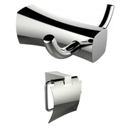 American Imaginations Double Robe Hook and Chrome Toilet Paper Holder  (AI-13272)