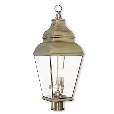Livex Lighting 3-Light Outdoor Antique Brass Post Light (2594-01)