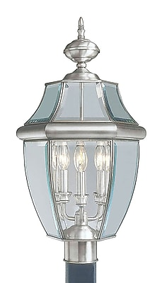 Livex Lighting 3-Light Outdoor Brushed Nickel Post Head with Clear Beveled Glass (2354-91)