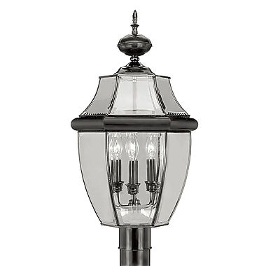 Livex Lighting 3-Light Outdoor Black Post Head with Clear Beveled Glass (2354-04)
