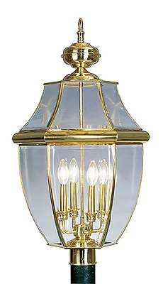 Livex Lighting 4-Light Polished Brass Outdoor Post Lantern (2358-02)