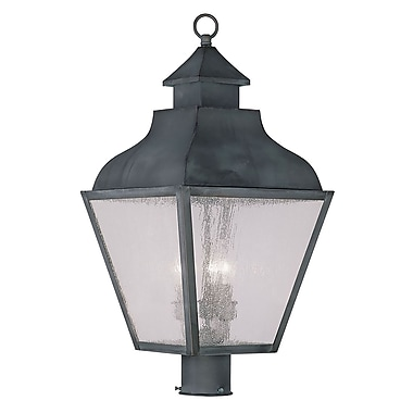 Livex Lighting 3-Light Charcoal Outdoor Post Lantern with Seeded Glass (2455-61)