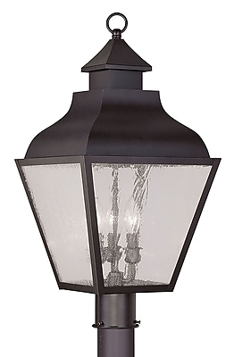 Livex Lighting 3-Light Bronze Outdoor Post Lantern with Seeded Glass (2455-07)