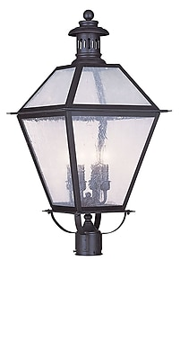 Livex Lighting 4-Light Outdoor Bronze Post Head with Seeded Glass (2054-07)